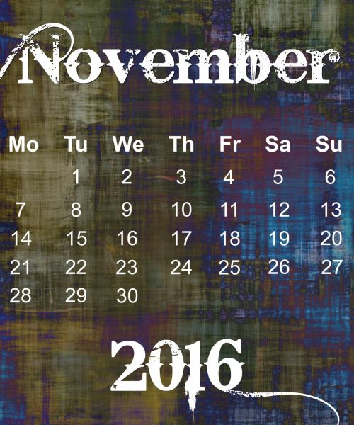 November 2016 Grunge Calendar