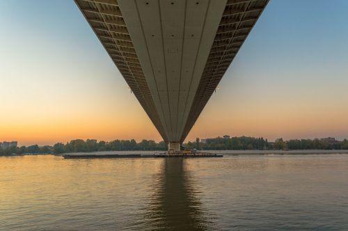novi sad liberty bridge sunset
