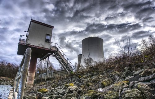 nuclear power plant  cooling tower  rhine