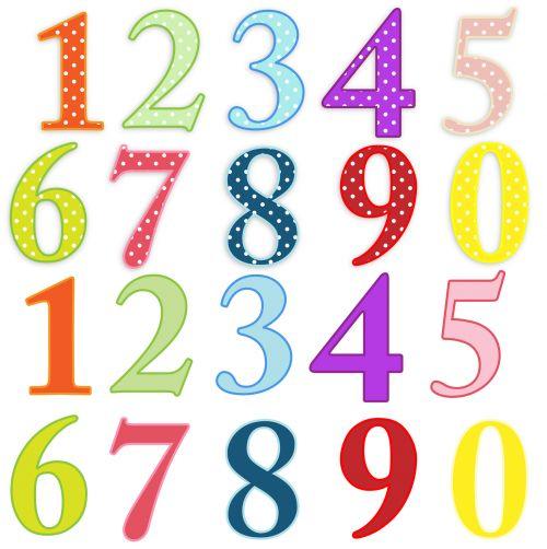 numeriai, skaičiai, spalvinga, paprastas & nbsp, spalvas, polka & nbsp, taškų, taškai, dėmės, vienas, du, trys, keturi, penki, šeši, septyni, aštuoni, devyni, iliustracija, Iliustracijos, Scrapbooking, šviesus, skaičiai spalvinga klipas-menas