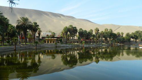oasis of huacachina ica - peru water mirror