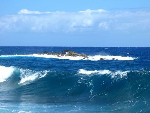 vandenynas,akmenys,sala,Hawaii,jūra,bangos,Hawaii beach,vanduo,kraštovaizdis