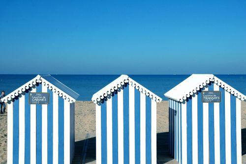 ocean bathing huts blue