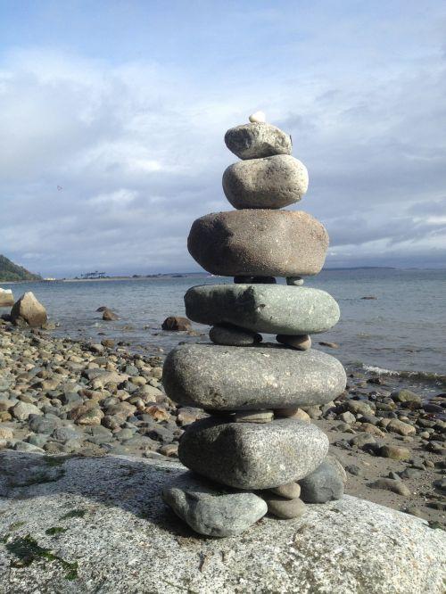 ocean rocks cairn balance