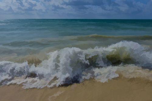Ocean Waves Background Painting