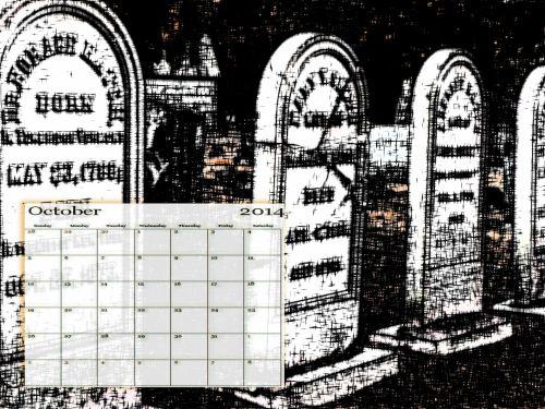 October 2014 Tombstone Calendar
