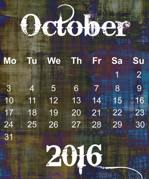 October 2016 Grunge Calendar