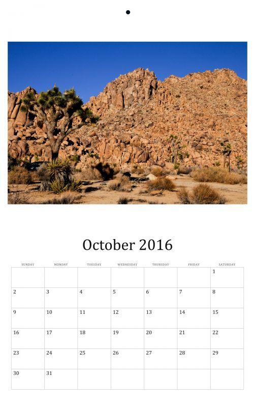 October 2016 Wall Calendar