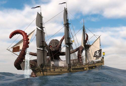 octopus sea sailing ship ship