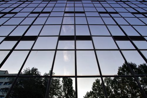 office building glass wall