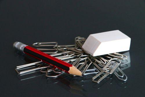office utensils paperclip eraser