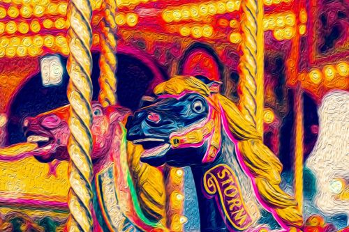 Oil Painting Vintage Carousel Horse