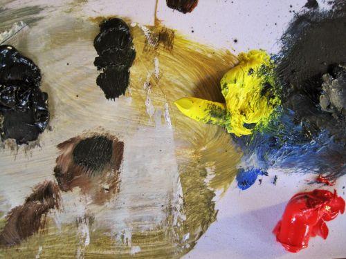 Oil Paints On Artists Palette
