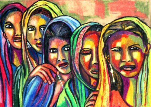oil pastel women artistic