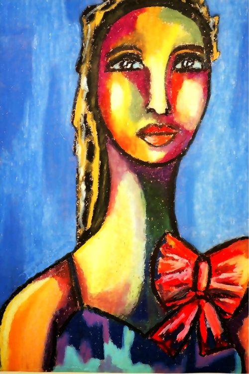 oil pastel portrait paper colorful