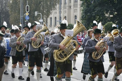 oktoberfest costume parade brass band