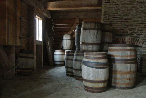 old oak barrels