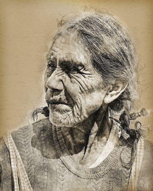 old elderly wrinkles