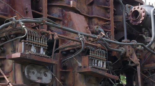 old rusty marine diesel
