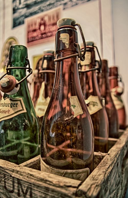 old bottles wooden box