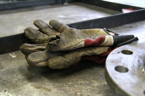 old  work gloves  work
