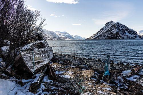 old boat shoreline fjord
