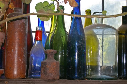 old bottles  dusty  colorful bottles