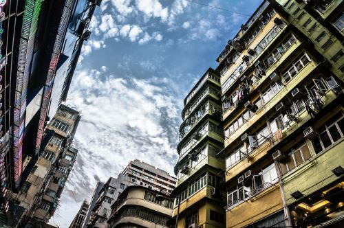 old buildings residential area hong kong