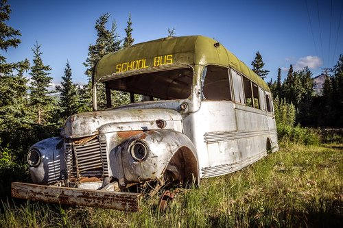 old bus  weathered  nostalgia