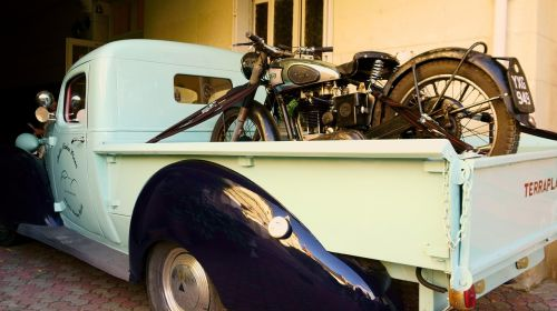 old car motorcycle old pick up