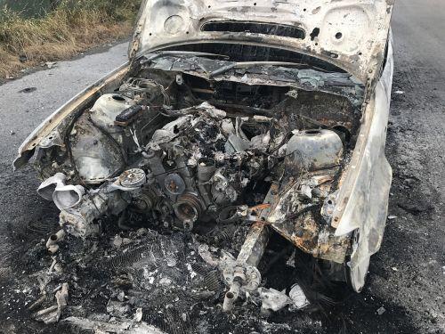 old car frack vehicle burnt out fire damage