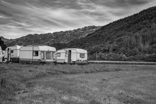 Old Caravan Parked In A Campsite