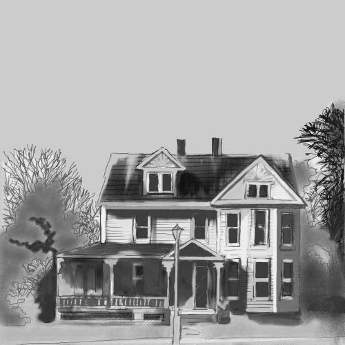 Old Colonial House Sketch