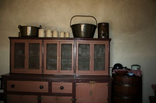 Old Cupboard With Kitchen Ware