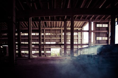 old factory dusty large space