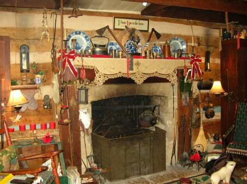 Old Fashioned Cabin Fireplace