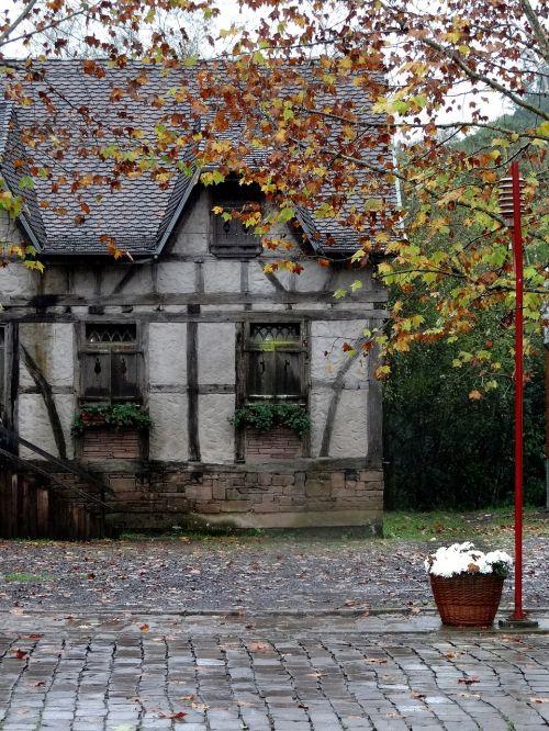 old house timber framed rain
