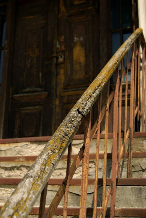 old house wooden handrail stairs