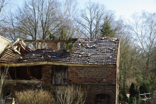 old house landscape hut