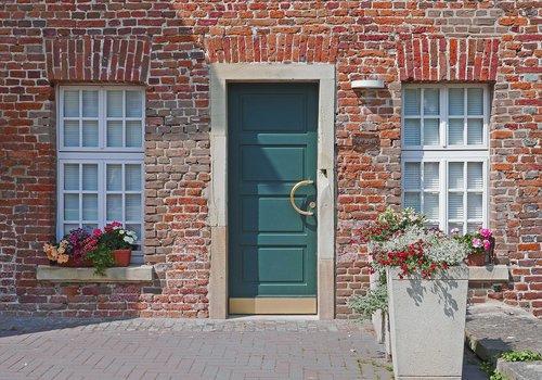 old house  modern door  new window