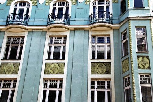old house  blue  facade