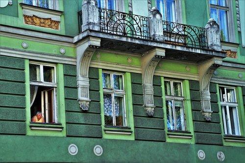old house  facade  old windows