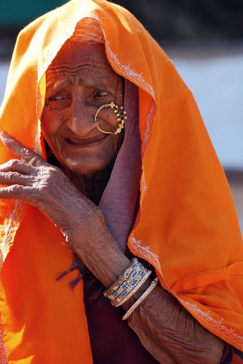 old lady  ethnic  wrinkles
