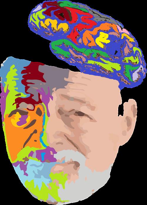 old man portrait brain