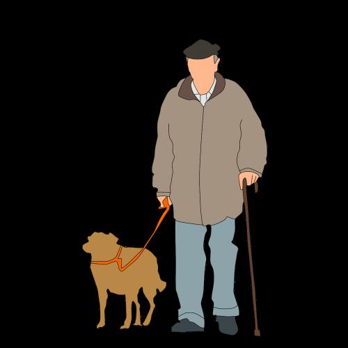 old man dog walking