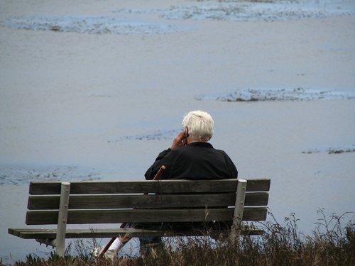 old man  bench  sitting