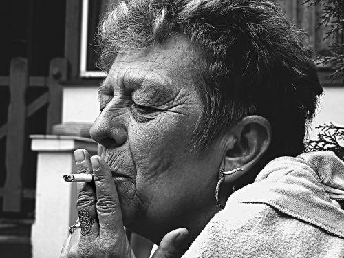 old man woman smoking