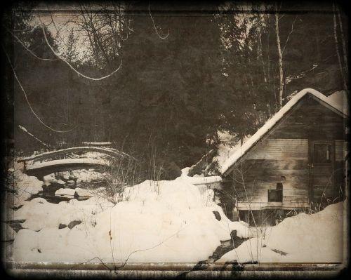 old mill bridge winter