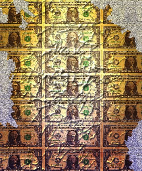 old money torn bills banknote