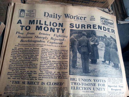 old newspaper daily worker surrender